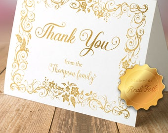 Floral Foil Thank You Cards with Envelopes (set of 10)/ thank you notes/ Personalized cards/ Lined envelopes/ Wedding stationary