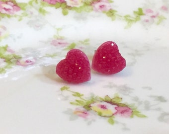Red Sparkly Heart Studs, Sparkle Heart Studs, Kawaii Studs, Sugar Coated Candy Heart Studs, Little Heart Studs, Valentine's Day Stud (SE4)
