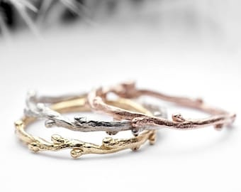3 stacking rings, skinny twig band set - 14k yellow gold, white, rose -  In Her Dreams