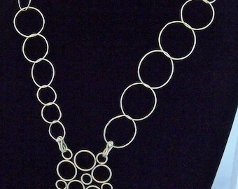 Silver Necklace, Going In Circles, Textured, Modern