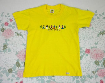 90s Guatemalan Worry Doll Tourist T Shirt / Vacation / Guatemala / Yellow / Small / Kitschy / Applique / 3d / Clarissa / 90210 / Rave /