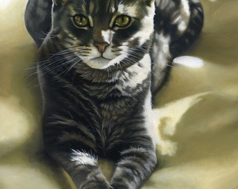Custom Pet Portrait - Oil painting, cat art, gift for cat owner