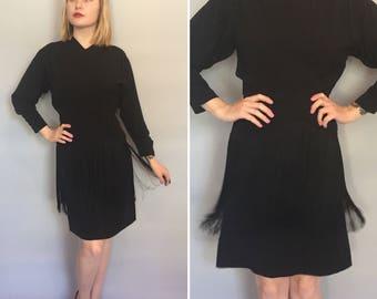 Small 1940s black rayon crepe fringe dress