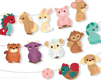 DIY Printable Chinese Zodiac cute animals Banner PDF Scrapbooking Party Decorations Chinese Lunar New Year