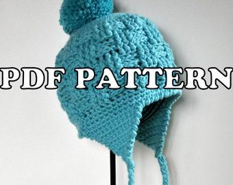 PDF PATTERN - Basketweave Earflap Hat