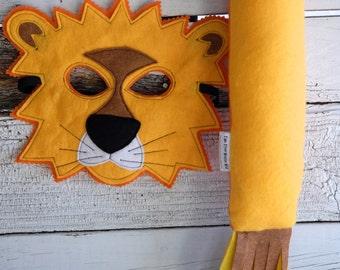 Lion Costume - Felt Animal Mask - Wool or Eco Felt - Mask and Tail Costume Gift Set