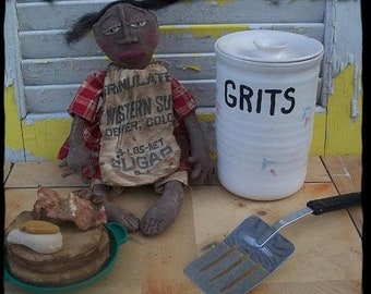 Red,White&BlueSale Primitive doll, folk art, black  With Pancakes, Eggs and Bacon