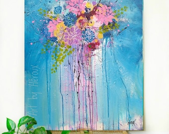 Large flower painting on canvas, Colorful artwork, Original canvas painting, flower painting, acrylic textured art, 30x40 inch, by Heroux