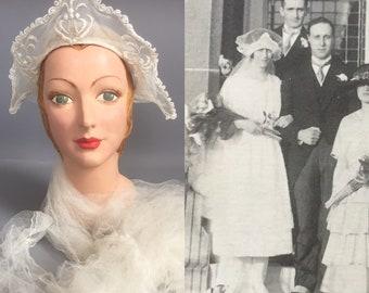 1920s headdress and veil / tudor style wedding tiara