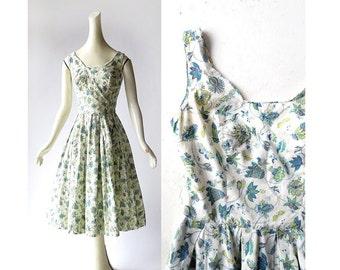 Vintage 50s Dress | Carolyn Schnurer | Butterfly Print Dress | 1950s Dress | XS