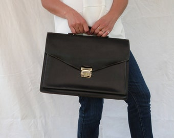 70's 80's Black Leather Briefcase