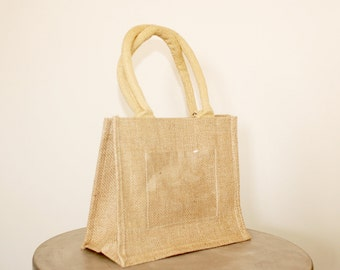 Christmas Special - Mini Burlap Tote with Photo/Message Window