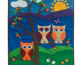 Little Owl Wall Hanging Appliqued Eco-Felt Banner - The Making of a Hokie