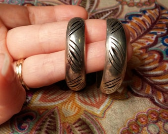 Sterling Silver Etched Hoop Earrings Taxco Mexico