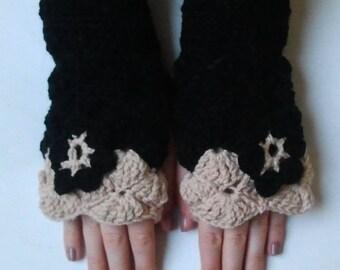 fingerless gloves crocheted black and sand with matching flower - crochet-Fingerless wool mittens handmade Fingerless