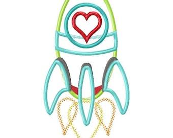 Valentine Heart Rocket Machine Applique Design INSTANT DOWNLOAD