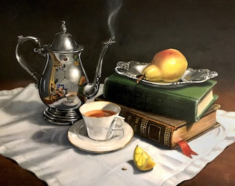 """Digital download only-Oil Painting, """"Tea with Poe and Longfellow"""""""