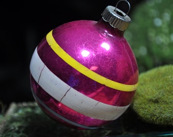 Large Vintage Christmas ornament, decoration Silver, pink, white, antique glass ball ornament, #699