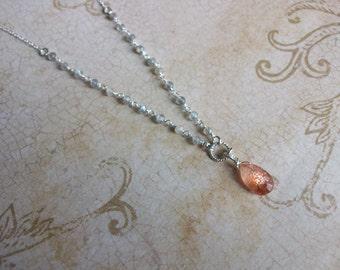 Oregon Sunstone Pendant with Labradorite Sterling Silver Chain Sunstone and Labradorite Necklace with Sterling Silver Unique Sunstone N0669