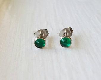 Emerald Stud Earrings Sterling Silver