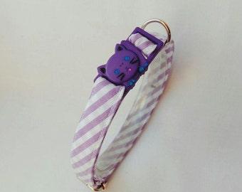 Custom Pet Collar with leather cat tag 'Purple Stripes',non breakaway cat collar,spring cat collar,pink cat collar,pet tag,Crafts4Cats