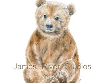 Bear Art Bear Painting Bear Print. Bear Watercolor Painting Animal Watercolor Print Bear Nursery Art Bear Watercolor Art Baby Bear Cub Art