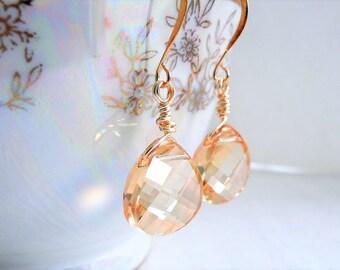 Gold Crystal Drop Earrings Gold Dangle Earrings Modern Contemporary Wedding Jewelry Champagne Swarovski Crystal Golden Teardrop Dangles