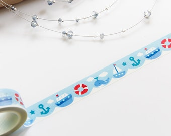 Cute Steamship and Ocean Blue Washi Tape 15mm/ Masking Tape/ Gift Wrapping/ Deco Tape/ Birthday Wedding Party Washi Tape Pretty Packaging