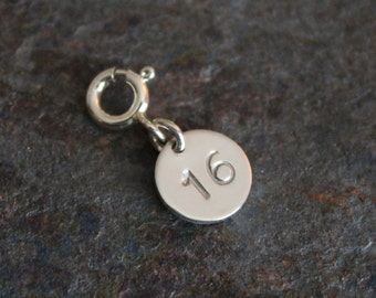 Sterling Silver Personalized Number Charm w/ Spring Ring Clasp - Numbers 0-50 Available - Brand New Fine Jewelry