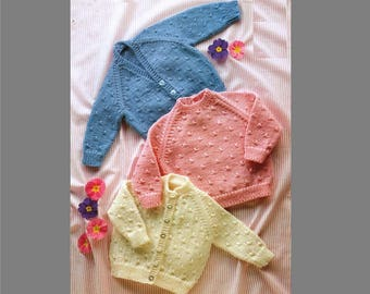 PDF Knitting Pattern / Baby Knitting Pattern / Sweater and Cardigan / 8ply Baby Pattern /Digital Download PDF/post Free Knitting Pattern