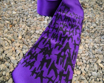 Purple Super Villain Ha Ha Ha Geeky Cosplay Mens Tie - MTCoffinz
