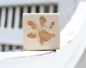 Paw Print Rubber Stamp - Dog Cat Custom Stamp