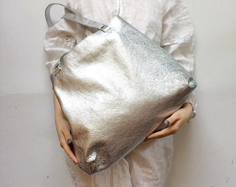 Tote Bag, Silver Leather Big Bag, Silver Bag, Shoulder Bag, Handbag, Shining Silver Bag, Genuine Leather Bags, Purse