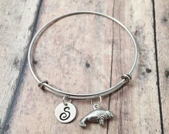 Manatee initial bangle - manatee jewelry, ocean jewelry, sea cow jewelry, manatee bangle, Florida jewelry, silver manatee pendant