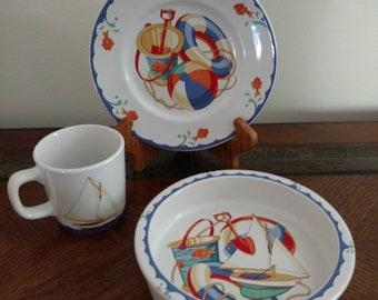 Vtg Tiffany and Co Seashore Bucket and Shovel Childs Mug Bowl and Plate 3 Piece Set Japan