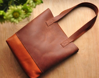 Personalised Simple Leather Tote Bag / Leather Bag / Leather Purse / Simplistic Tote / Minimalist Bag in Chocolate and Tan Leather