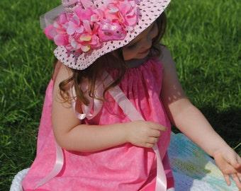 Tea Party Hat - Easter Bonnet - Easter Hat -  Flower Girl Hat - Spring Bonnet - Child spring hat - Girl Sun Hat - Tea Party