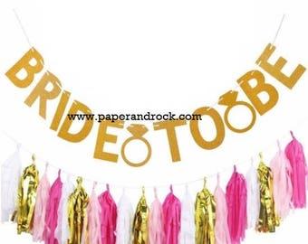 Bachelorette Party Set Tassel Garland & Banner, Pink Gold White Tassel Garland, Bride to Be Banner, Bride to Be Banner, Bridal Shower Banner