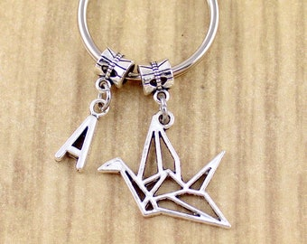 Personalized Silver Origami Crane Keychain Gift Under 20 Dollars • Paper Crane Keyring • Stocking Stuffers • Christmas Gift • 5 Star Seller
