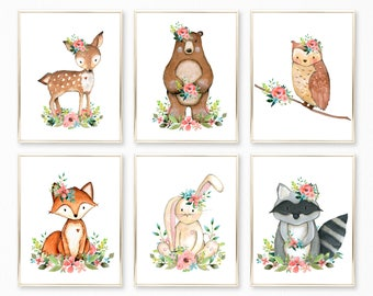 Woodland Animals Nursery Art. Woodland Nursery. Woodland Nursery Art. Woodland Baby Shower Decor. Baby girl gift. Woodland Watercolor Art.