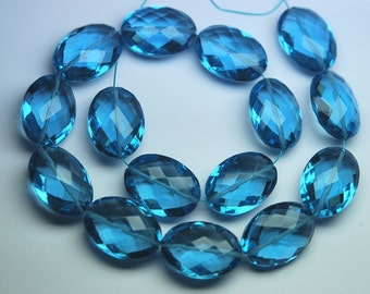 10 Pieces, AAA Quality London Blue Micro Faceted Oval Shape Briolettes,13x18mm