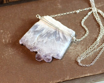 Amethyst Stalactite Necklace Druzy Slice Silver Necklace Raw Amethyst Purple Necklace