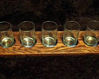 5 Beer tasting boards with glasses