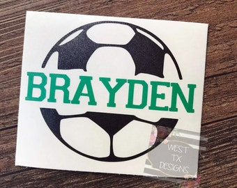 Soccer Decal   Personalized Soccer Ball   Soccer Sticker   Soccer ball decal   Yeti Decal   Car Decal   Sports Decal