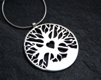 Returning to the Heart Sterling Silver Amulet with Tree of LIfe, 4 directions and Medicine Wheel