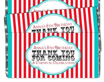 Carnival Birthday Candy Wrappers - fit over 1.55 oz chocolate bars, Circus Birthday, Birthday Party Favor, Chocolate Bar Wrappers
