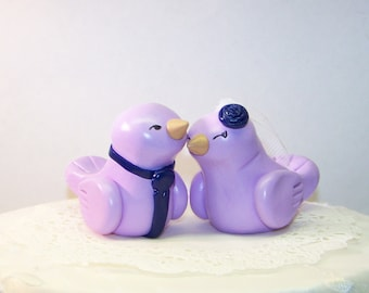 Romantic Bird Wedding Cake Topper - Lilac and Navy - Fully Custom  Made - FAST SHIPPING