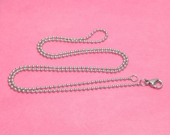 """16"""" 1.5mm Stainless Steel Ball Chain Necklaces WITH Lobster clasps - Package of 10 or 100 - Bulk Chains"""