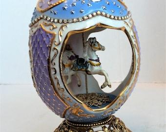 Franklin Mint  Two Egg Carousel Horse Musical Eggs