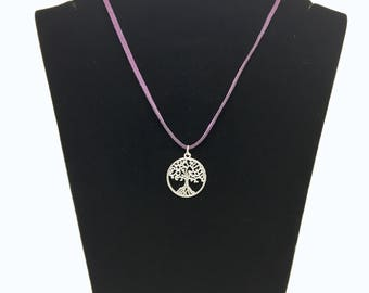Suede with tree of life charm necklace
